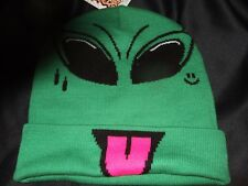 New Green Extraterrestrial Space Alien Yuck Face Tounge Character Beanie Hat Cap