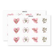 Pack of 24 Pink Heart paper labels, Valentine's Day Stikers