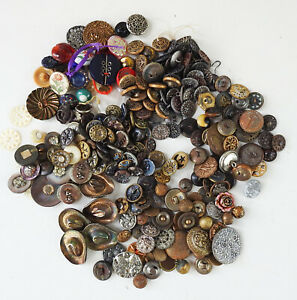 Lot of 200+ Vintage Antique Buttons Victorian Deco Metal MOP Satsuma Glass