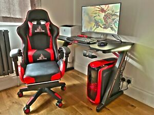 120cm LARGE PC Computer Desk Table, Gaming Chair / Swivel ribbed Luxury office