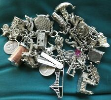 Vintage Sterling Silver Charm Bracelet - 108g - 32 Charms NUVO CHIM & Openers