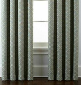 2 Liz Claiborne Quinn Lattice Tennessee Sage Green Grommet Curtain Panels 50x95