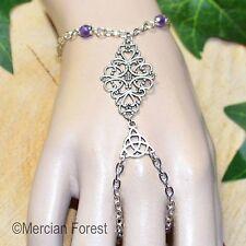 Ornate Filigree Amethyst Bracelet Ring - Pagan Jewellery/Jewelry, Wicca, Witch