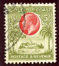 GOLD Coast 1928 KGV 5s Carmine & Verde Oliva Usato in perfetta condizione. SG 112. SC 107.