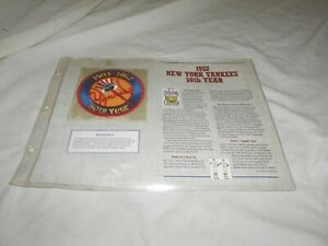 1952 NEW YORK YANKEES 50TH ANNIVERSARY  PATCH ON INFORMATION PAGE