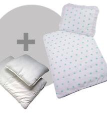 4 tlg.SET Bezug für Kinderwagen Bettwäsche Decke+Kissen+Füllung Sterne Weis Türk