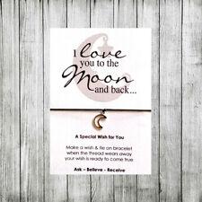 Amicizia CARD desiderio stringa Bracciale con Charm Moon & Indietro Regalo tag # 01aa SAN VALENTINO