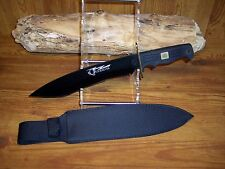 "Quicksilver 15"" Bowie Knife, black blade brass guard rubberized grip, Very Sharp"