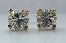 Brand New 5mm White Topaz 9ct Yellow gold Stud earrings Freepost