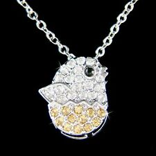 w Swarovski Crystal Baby DUCK DUCKIE Bird Birdie Chicken Chick Chickie Necklace