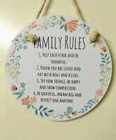 Round Shape Flower Designs Rules Plaque Quote Wooden Home - White - 308922