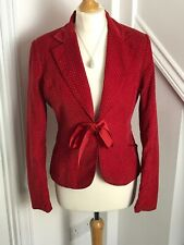 H&M Red White Pincord Spotted Blazer Eur 38 UK10-12 Ribbon Rockabilly 50s A12
