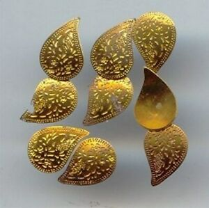 18 VINTAGE FLORAL ETCHED AGED BRASS 14mm. TEAR DECO FINDINGS 1831