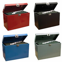 Lockable A4 Metal File Box Filing Storage inc. 5 Free Suspension Files