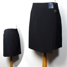 "M&S Wrap Detalle A-Line Mini Falda ~ Talla 14 (19"" longitud) ~ Negro (RRP £ 29.50)"