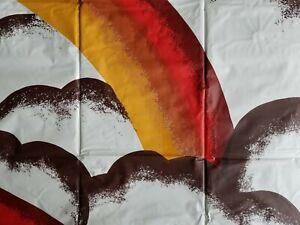 NEW *VTG 70's MOD Style* VINYL SHOWER CURTAIN 72X72 Brown/Orange Rainbows/Clouds
