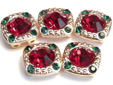 5 - 2 HOLE BEADS 8mm SIAM RED & 2mm EMERALD GREEN RHINESTONES CHRISTMAS HOLIDAY