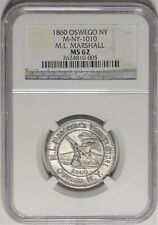 Oswego New York Marshall Coin Dealer Merchant Token Miller NY 1010 NGC MS62 Fish