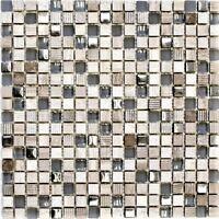 Glas-/Natursteinmosaik mix hellgrau/silber Fliesenspiegel Art:92-HQ10 | 10Matten