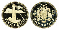 BARBADOS 5 CENTS 1982 (GEM PROOF) *ONLY 843 MINTED!!!*