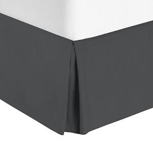 "Premium Luxury Pleated Tailored Bed Skirt - 14"" Drop Dust Ruffle, Full XL - Gray"