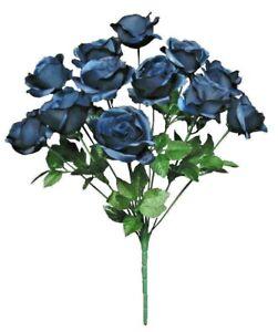 "12-Navy Blue Rose 21"" Bush Silk Flower Home Wedding General Decors DIY Crafts US"