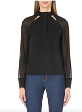 KAREN MILLEN  Cut-out woven top blouse with sheer sleeves RRP: $285 size 10
