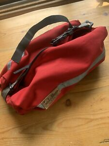 Vintage LL Bean Bike Rack Bag Red Canvas with Leather Badge