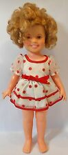 """VINTAGE 1973 IDEAL SHIRLEY TEMPLE 16"""" DOLL in WHITE with RED POLKA DOTS DRESS"""