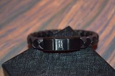 NEW MontBlanc Men's Black with Brown Woven Leather Bracelet without tags