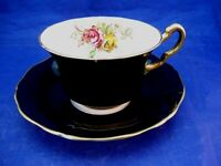 ANTIQUE ADDERLEY TEA CUP AND SAUCER -  BLACK W PINK AND YELLOW ROSES - ENGLAND