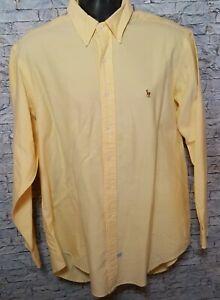 Ralph Lauren Mens 100% Cotton Yellow Long Sleeve Button Down Dress Shirt Size 17