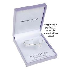 Silver Plated Engraved Bangle Bracelet Friendship and Happiness. Friend Gift