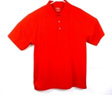 PGA Tour Mens Polo Pullover Golf Shirt Red Ribbed 3 Button Down Size Large