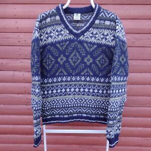 Vintage Columbia 100% Wool Fair Isle Knit Jumper Sweater Size XL