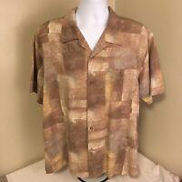 Joseph & Feiss Mens Hawaiian Aloha Camp Shirt XL 100% Silk Brown Abstract FS!