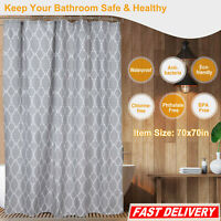 "Bathroom Shower Curtain Bath Waterproof Polyester Fabric with 12 Hooks 70""x70"""