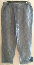 Adrienne Vittadini Pull On Linen Navy Striped Pants Medium New with tags