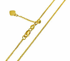 14K Yellow Gold 0.8mm Square Wheat Adjustable Chain -20 Inches