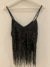 SEQUIN TASSEL CAMI TOP M 10 GLAM PARTY STRAPPY SUMMER HOLIDAY TOWIE PARTY CELEB