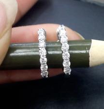 DEAL! 0.40 Carat Natural Round Diamonds Hoops Huggies Earrings in 14K Gold 12mm
