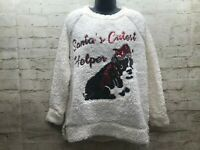Como Vintage Womens Cute Ugly Sweater Med Faux Fur Dog Santa Christmas Holiday