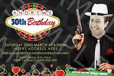 Personalised Photo Birthday 30th 40th Casino Gangster Party Invite Invitation