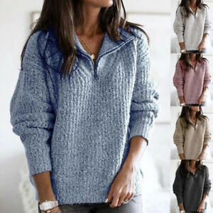 Womens Shirt Zipper Knitted Loose Long Sleeve Blouse Ladies Tee Pullover Tops