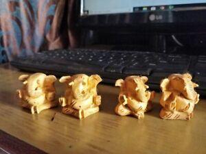 Indian Handmade Carve Wooden Lord Ganesha