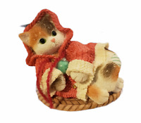 Vintage Enesco Priscilla Hillman Calico Kittens All Wrapped Up In Warmth 1997