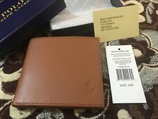 "MENS AUTHANTIC ""RALPH LAUREN WALLET"" BI FOLD BROWN LEATHER 8 CARD SLOT BOXED"