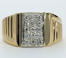 Mens diamond geometric grid ring 14K 2 tone gold 15 round brilliant .45CT sz8.75