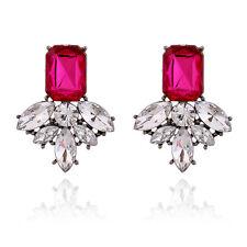 Womens Fashion Jewelry Retro Colorful Big Gem Stud Earrings Crystal Wholesale