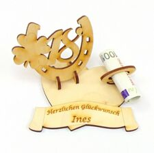 Geldgeschenk, Geburtstags Zahl 18 Hufeisen mit Kleeblatt mit Namensgravur, Holz